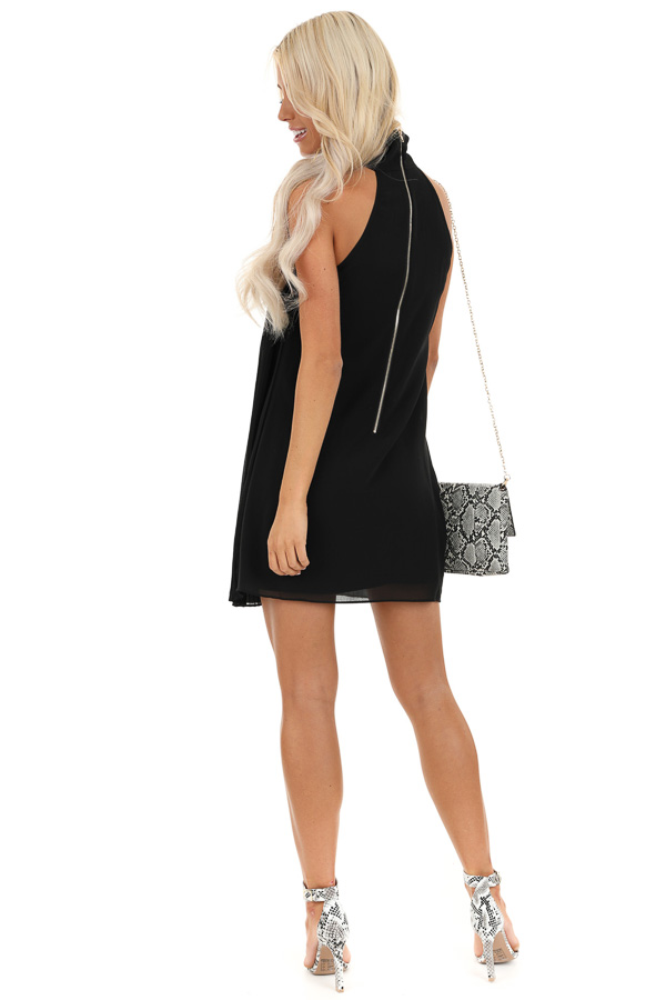 Jet Black Sleeveless Chiffon Mini Dress with Collar Detail back full body