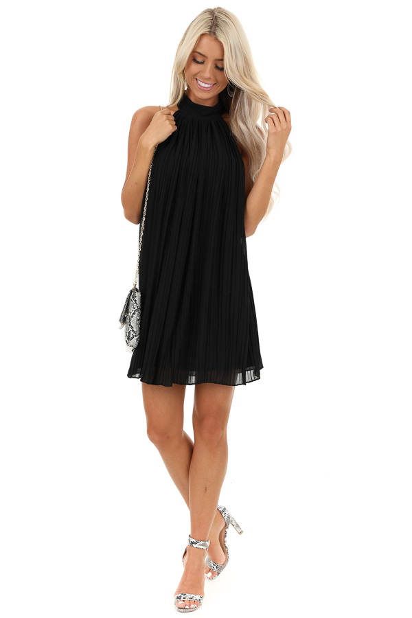 Jet Black Sleeveless Chiffon Mini Dress with Collar Detail front full body