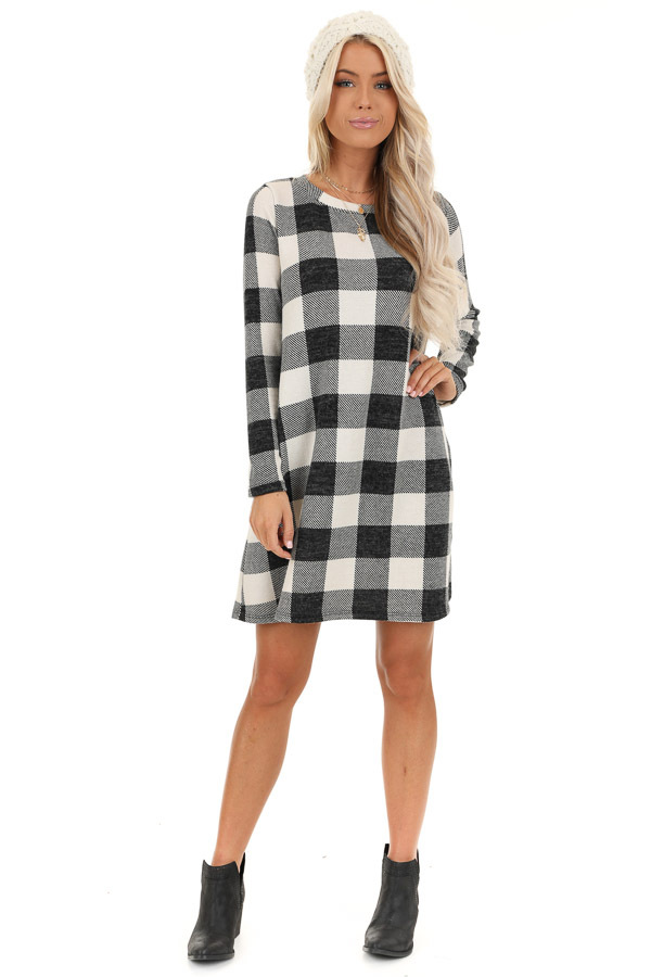 Off White and Midnight Black Buffalo Plaid Long Sleeve Dress front full body