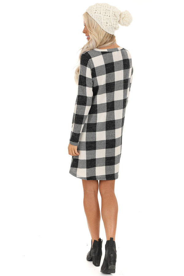 Off White and Midnight Black Buffalo Plaid Long Sleeve Dress back full body