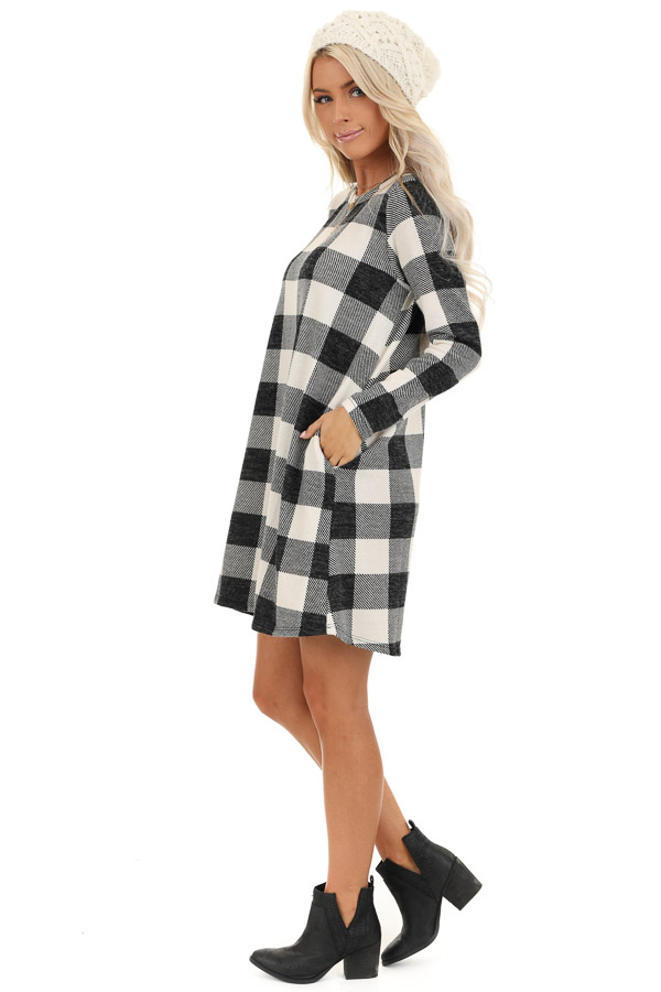 Off White and Midnight Black Buffalo Plaid Long Sleeve Dress side full body
