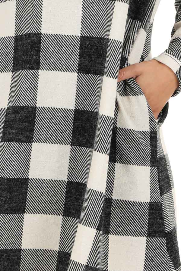 Off White and Midnight Black Buffalo Plaid Long Sleeve Dress detail