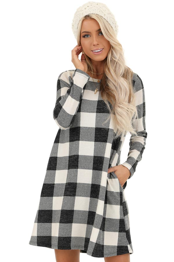 Off White and Midnight Black Buffalo Plaid Long Sleeve Dress front close up