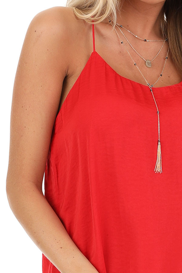 Candy Apple Red Spaghetti Strap Flowy Top detail
