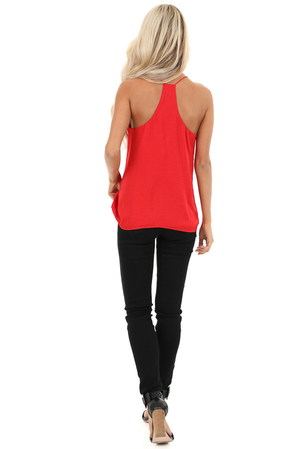 Candy Apple Red Spaghetti Strap Flowy Top back full body
