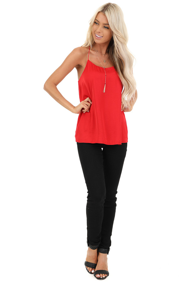 Candy Apple Red Spaghetti Strap Flowy Top front full body
