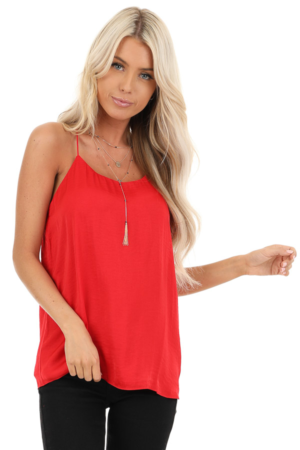 Candy Apple Red Spaghetti Strap Flowy Top front close up