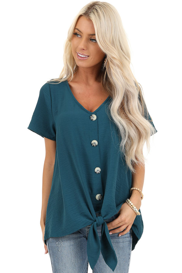 Teal Button Up Woven Top with Front Tie Detail front close up
