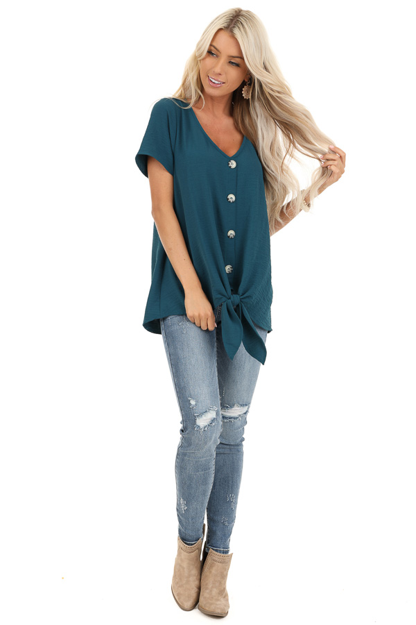 Teal Button Up Woven Top with Front Tie Detail front full body