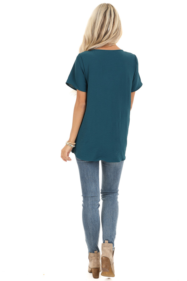 Teal Button Up Woven Top with Front Tie Detail back full body