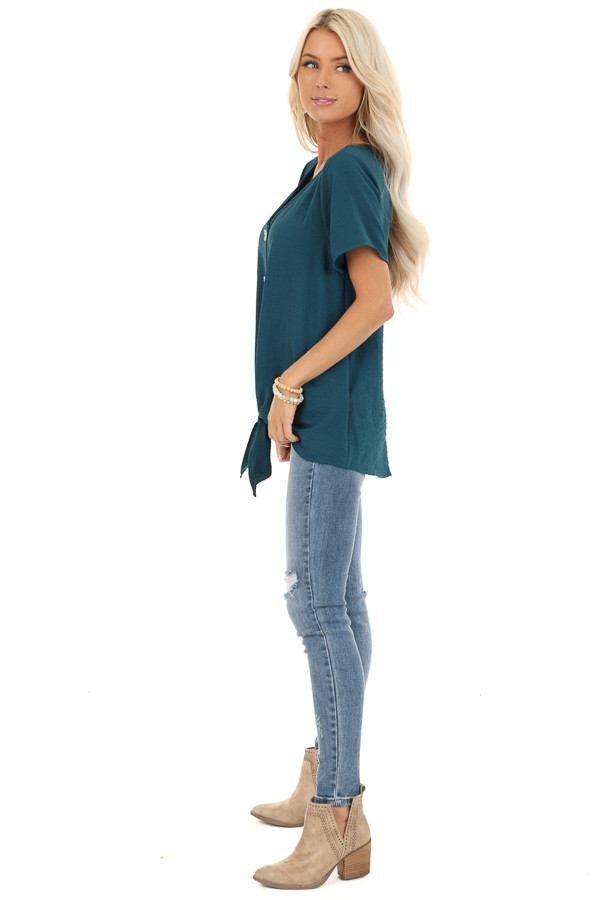 Teal Button Up Woven Top with Front Tie Detail side full body
