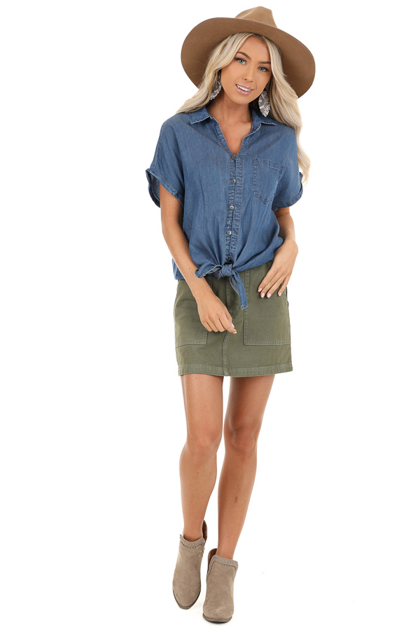 Denim Blue Short Sleeve Button Up Top with Front Pocket front full body