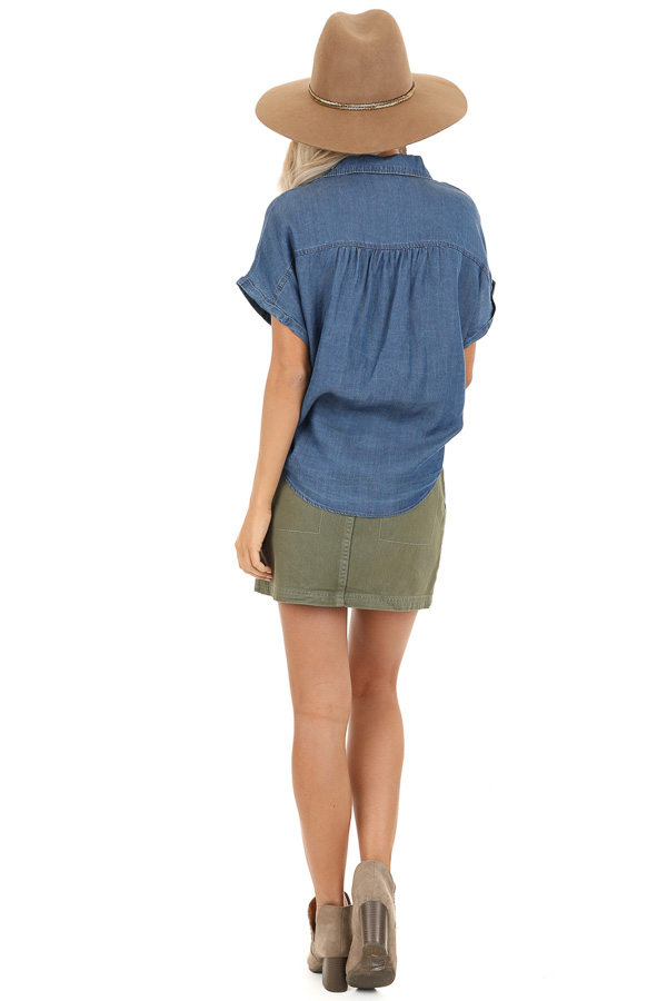 Denim Blue Short Sleeve Button Up Top with Front Pocket back full body