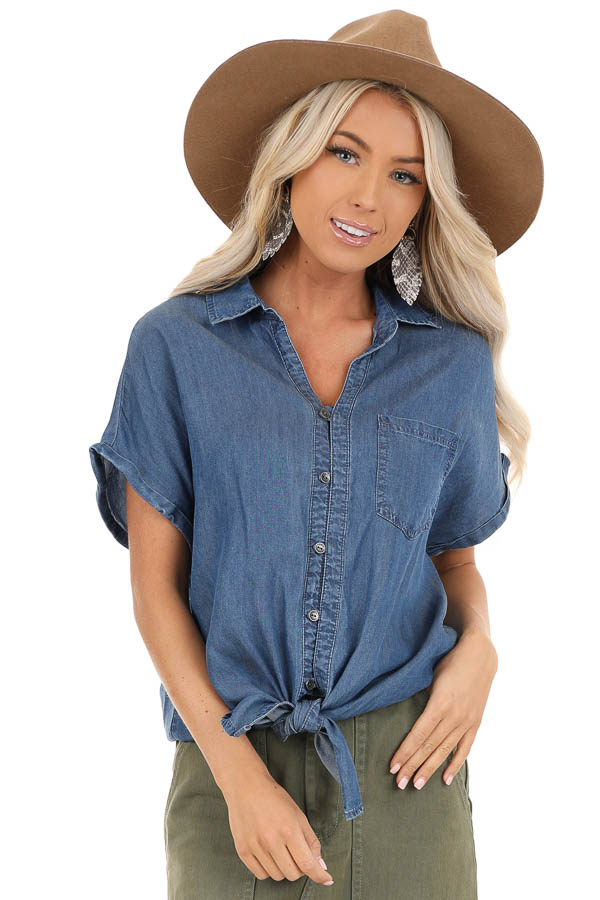 Denim Blue Short Sleeve Button Up Top with Front Pocket front close up