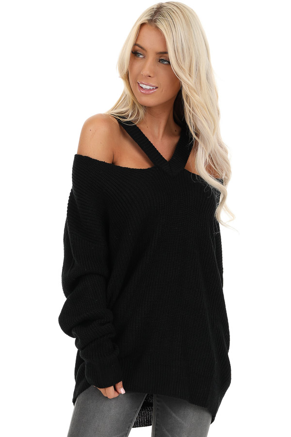 Raven Black Ribbed Knit Long Sleeve Top with Cut Out Details front close up