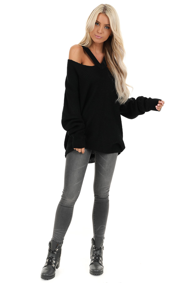 Raven Black Ribbed Knit Long Sleeve Top with Cut Out Details front full body