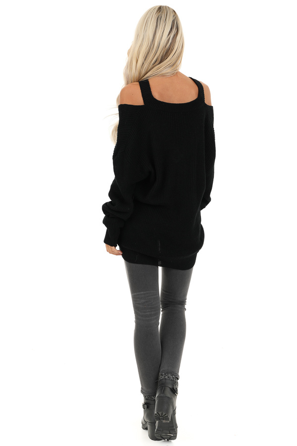 Raven Black Ribbed Knit Long Sleeve Top with Cut Out Details back full body