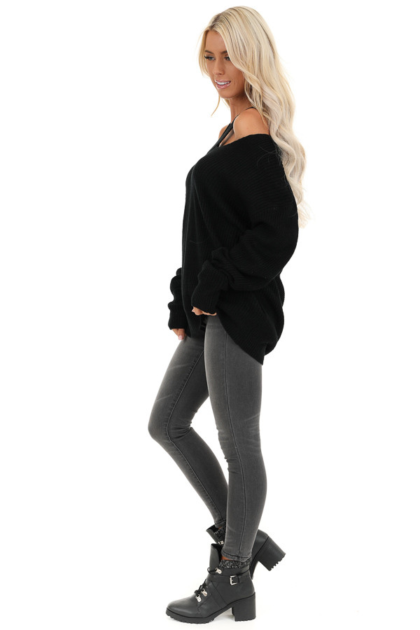 Raven Black Ribbed Knit Long Sleeve Top with Cut Out Details side full body