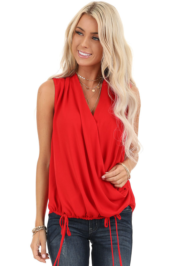 Rose Red Surplice Sleeveless Top with Drawstring Tie Hemline front close up