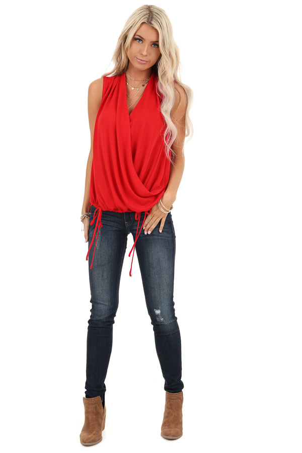 Rose Red Surplice Sleeveless Top with Drawstring Tie Hemline front full body