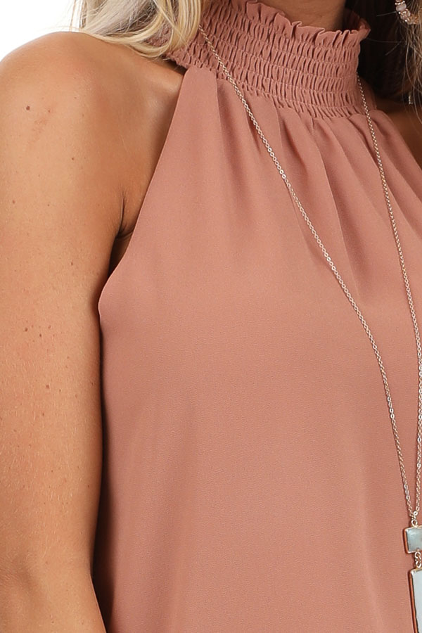 Dusty Salmon Sleeveless Top with Smocked Mock Neckline detail
