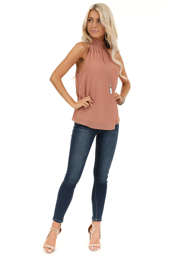 Dusty Salmon Sleeveless Top with Smocked Mock Neckline front full body
