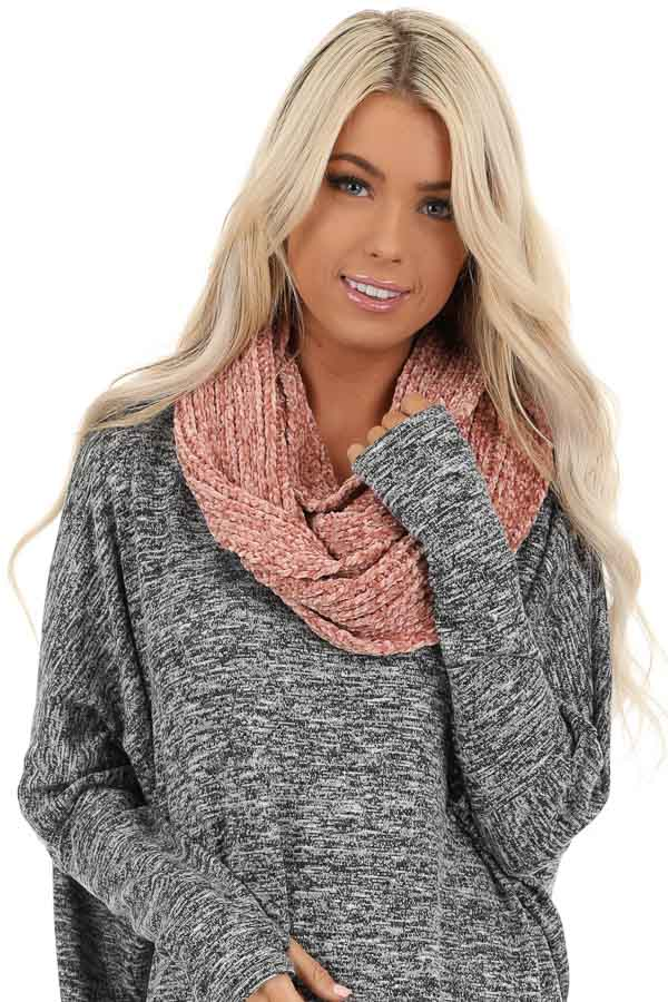 Coral Super Soft Chenille Infinity Knit Scarf