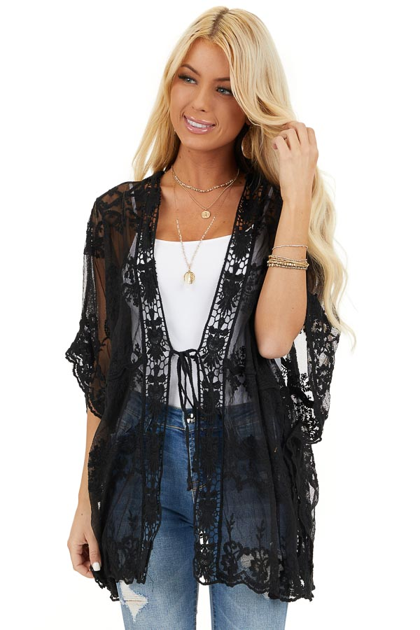 Midnight Black Sheer Lace Kimono with Crochet Trim front close up