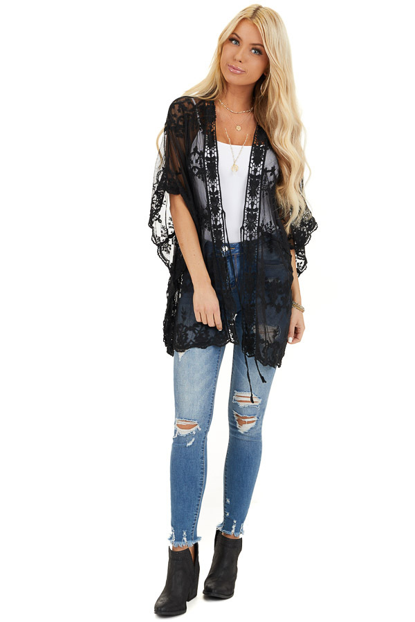 Midnight Black Sheer Lace Kimono with Crochet Trim front full body