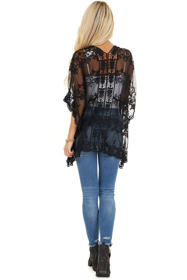 Midnight Black Sheer Lace Kimono with Crochet Trim back full body