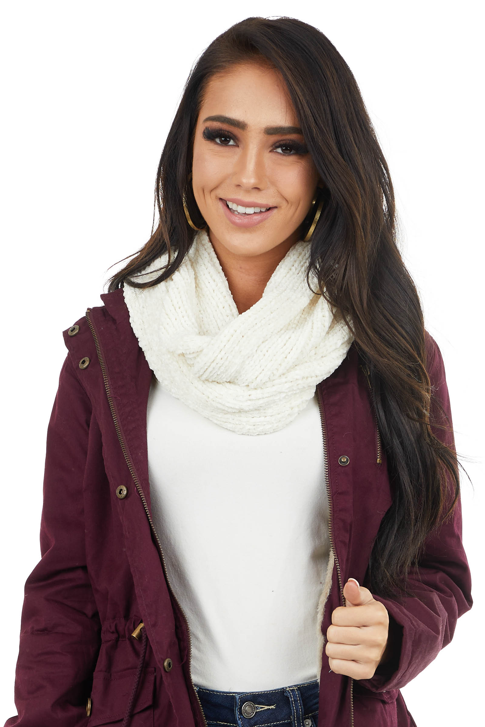Ivory Super Soft Chenille Infinity Knit Scarf