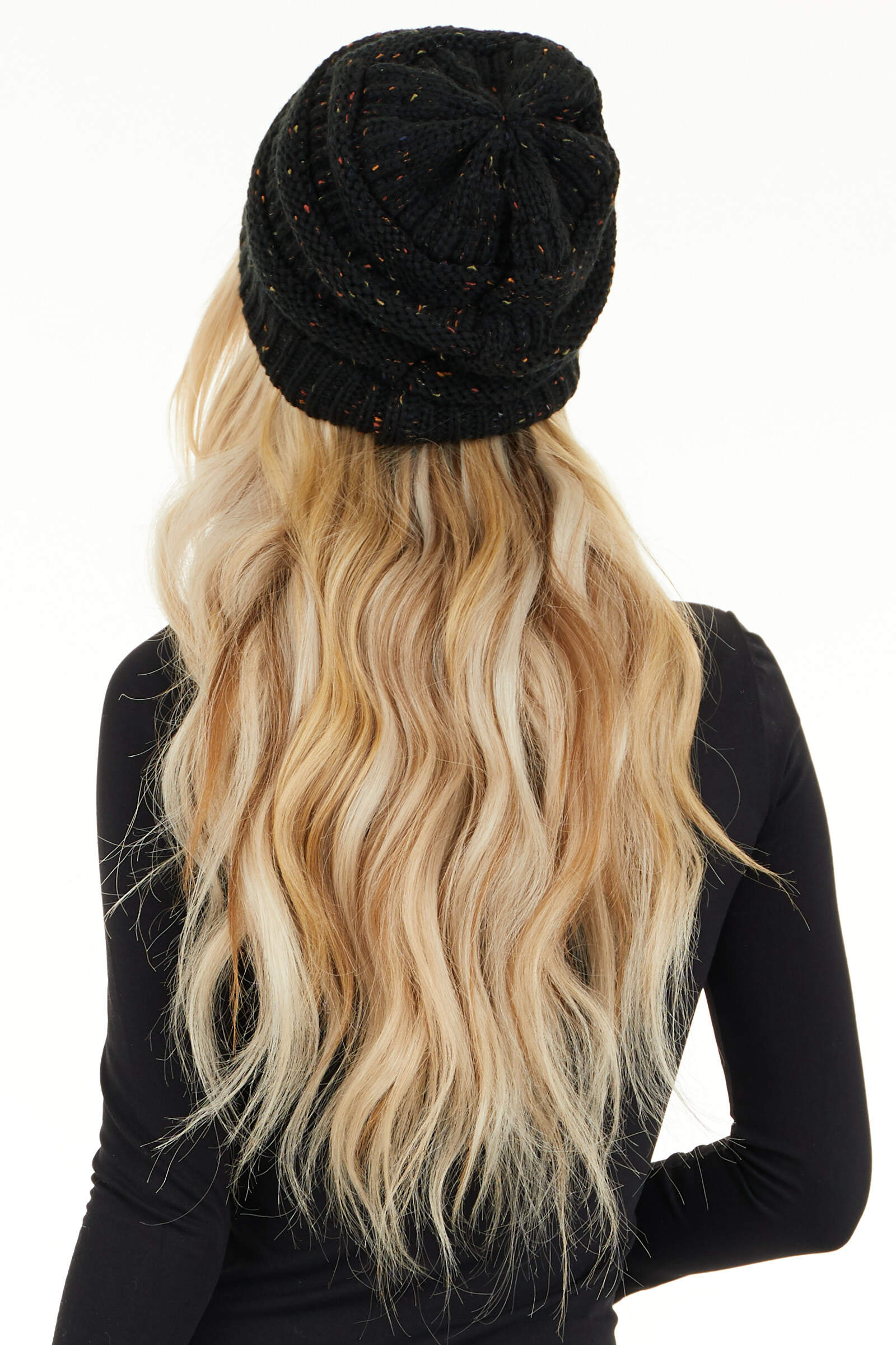 Midnight Black Confetti Chunky Knit Beanie back view