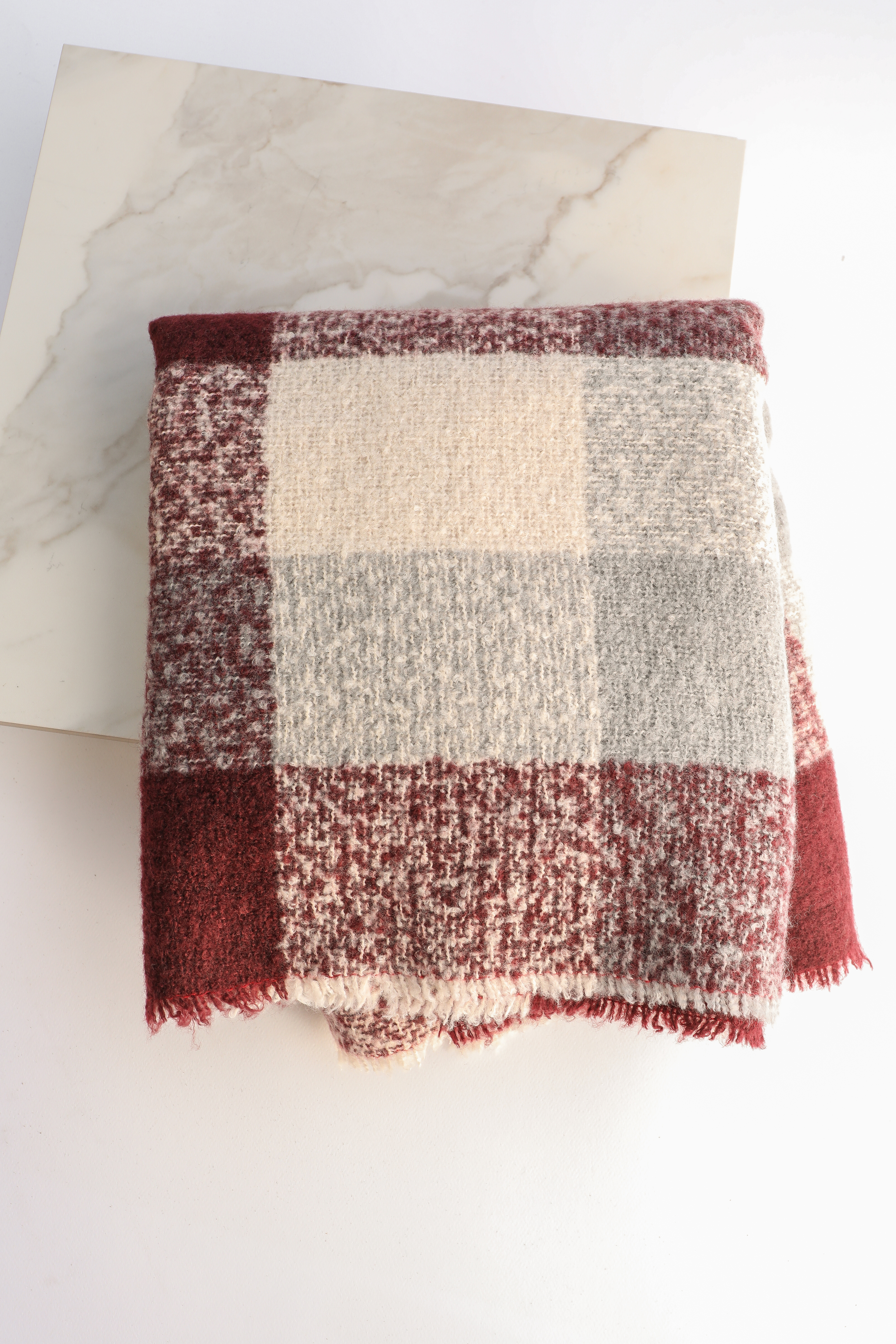 Burgundy and Grey Plaid Infinity Scarf with Fringe Detail
