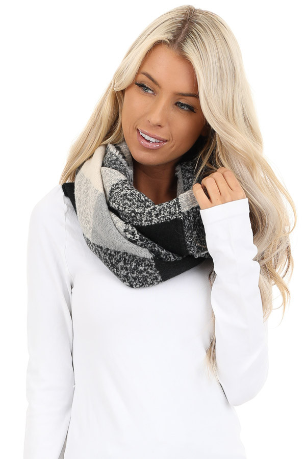 Black and Grey Plaid Infinity Scarf with Fringe Detail