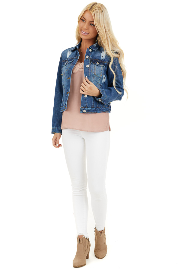 Medium Wash Denim Jacket with Pockets and Distressed Detail front full body