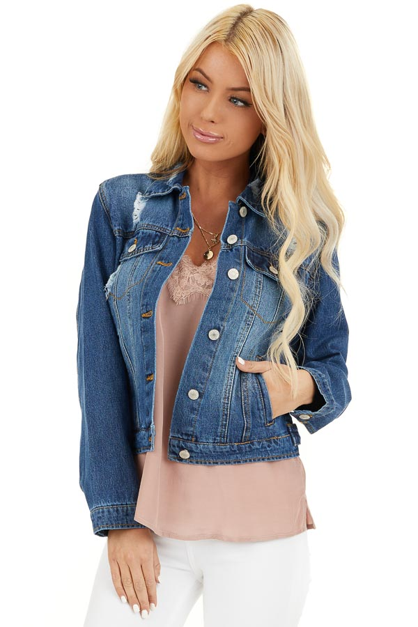 Medium Wash Denim Jacket with Pockets and Distressed Detail front close up