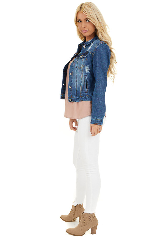 Medium Wash Denim Jacket with Pockets and Distressed Detail side full body