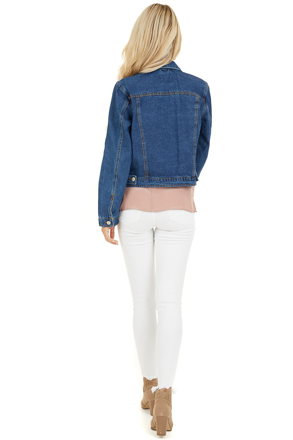 Medium Wash Denim Jacket with Pockets and Distressed Detail back full body