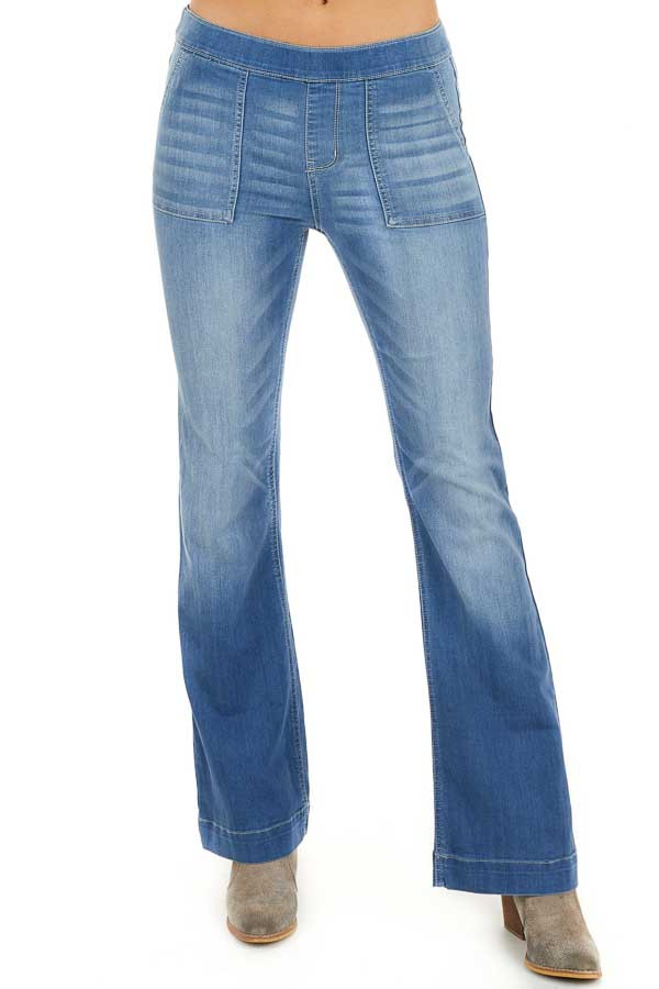 Medium Wash Denim Flare Jeggings with Elastic Waist front view