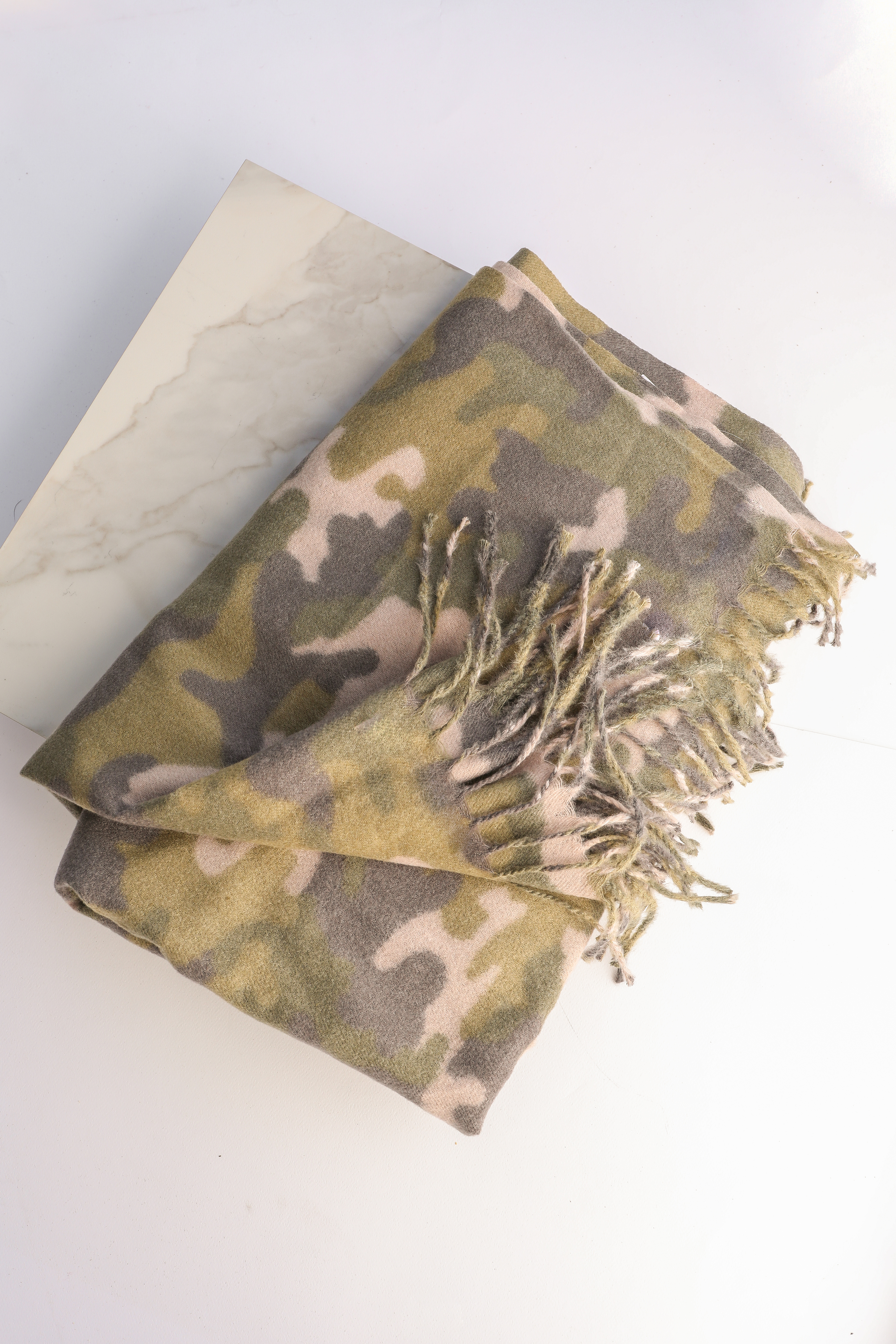 Olive and Charcoal Camo Print Scarf with Fringe Details