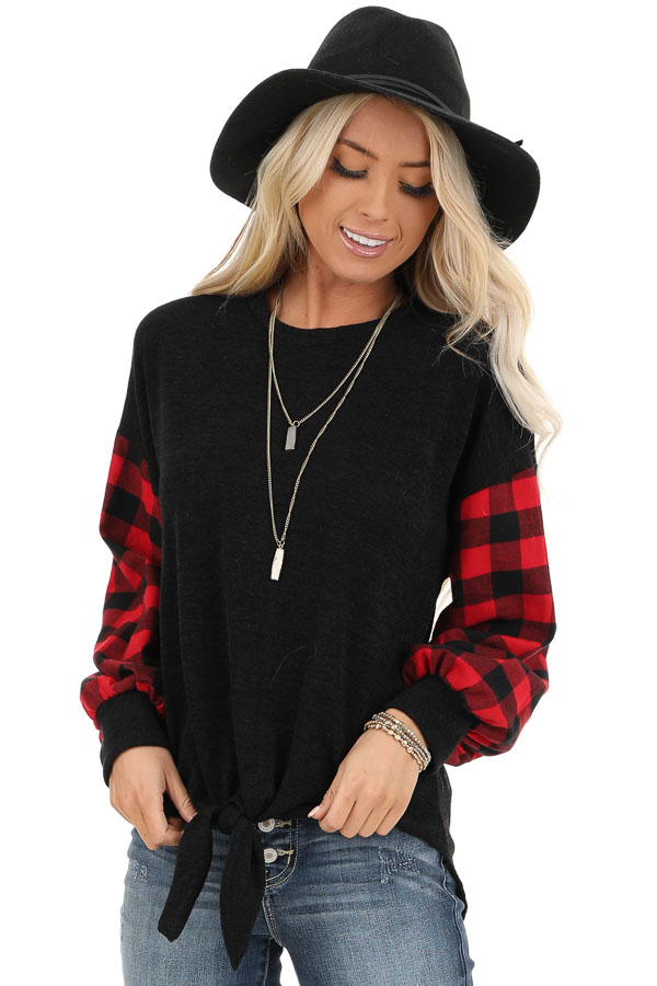 Black Top with Lipstick Red Buffalo Plaid Sleeves and Hem Tie front close up