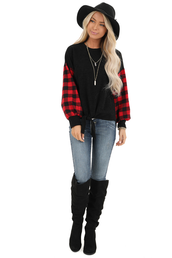 Black Top with Lipstick Red Buffalo Plaid Sleeves and Hem Tie front full body