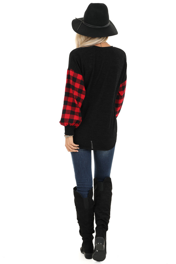 Black Top with Lipstick Red Buffalo Plaid Sleeves and Hem Tie back full body