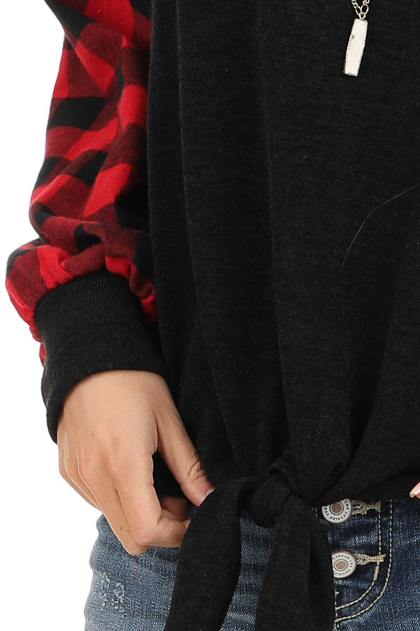 Black Top with Lipstick Red Buffalo Plaid Sleeves and Hem Tie detail