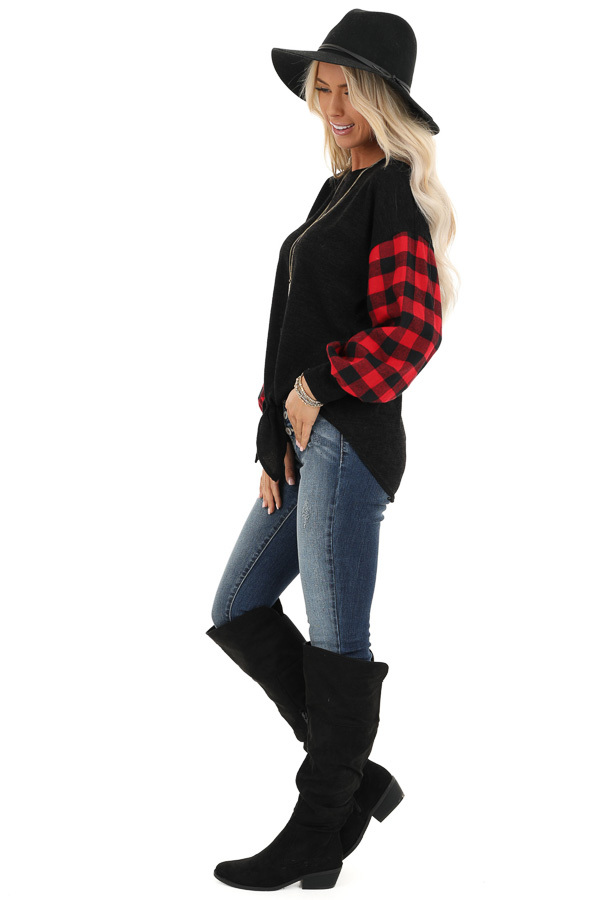 Black Top with Lipstick Red Buffalo Plaid Sleeves and Hem Tie side full body