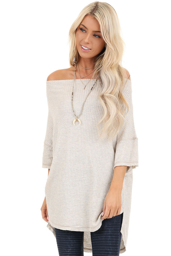 Oatmeal Off Shoulder 3/4 Sleeve Waffle Knit Top front close up