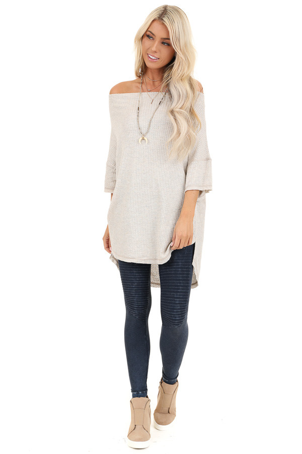 Oatmeal Off Shoulder 3/4 Sleeve Waffle Knit Top front full body
