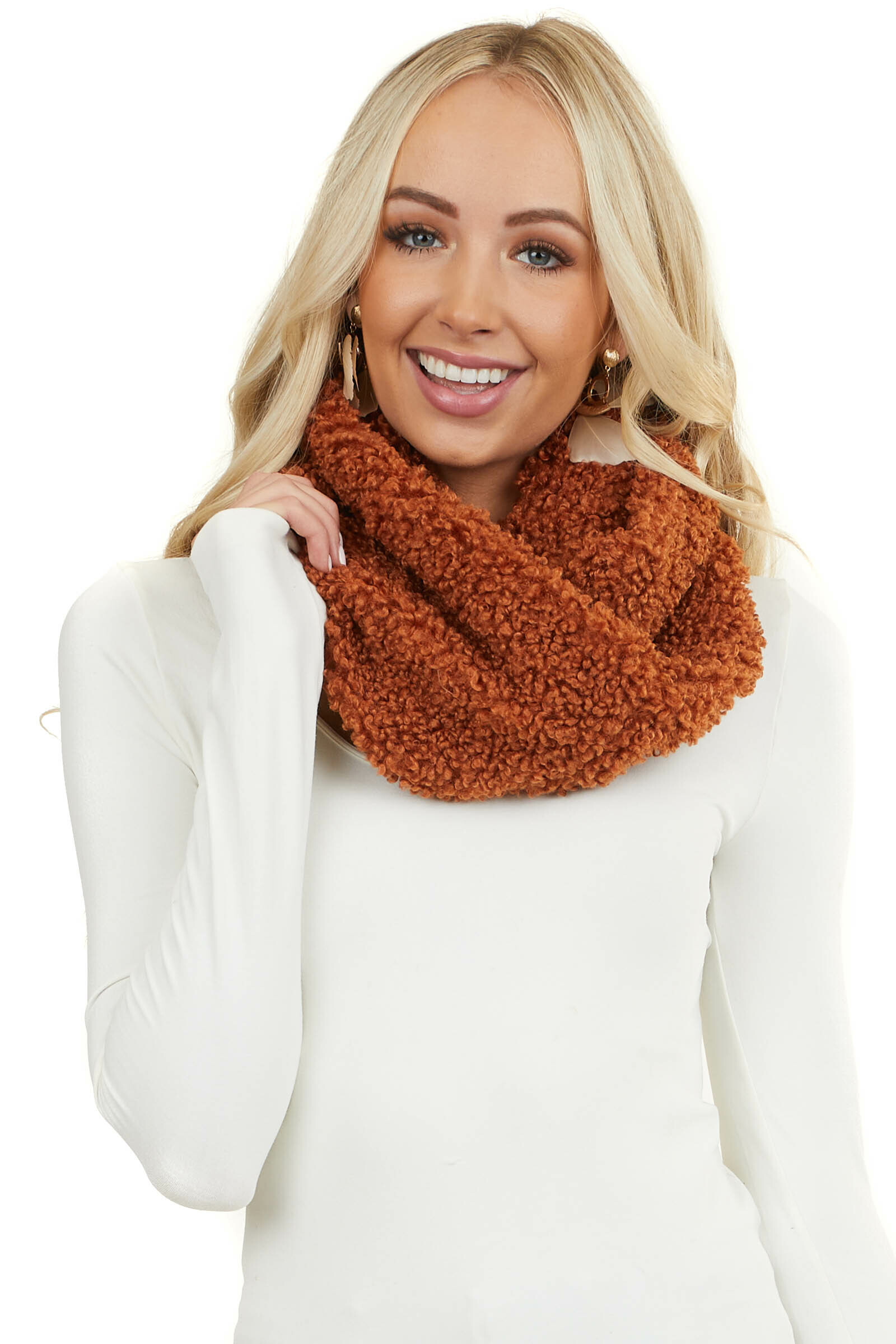 Antique Rust Faux Wool Infinity Scarf with Twisted Detail