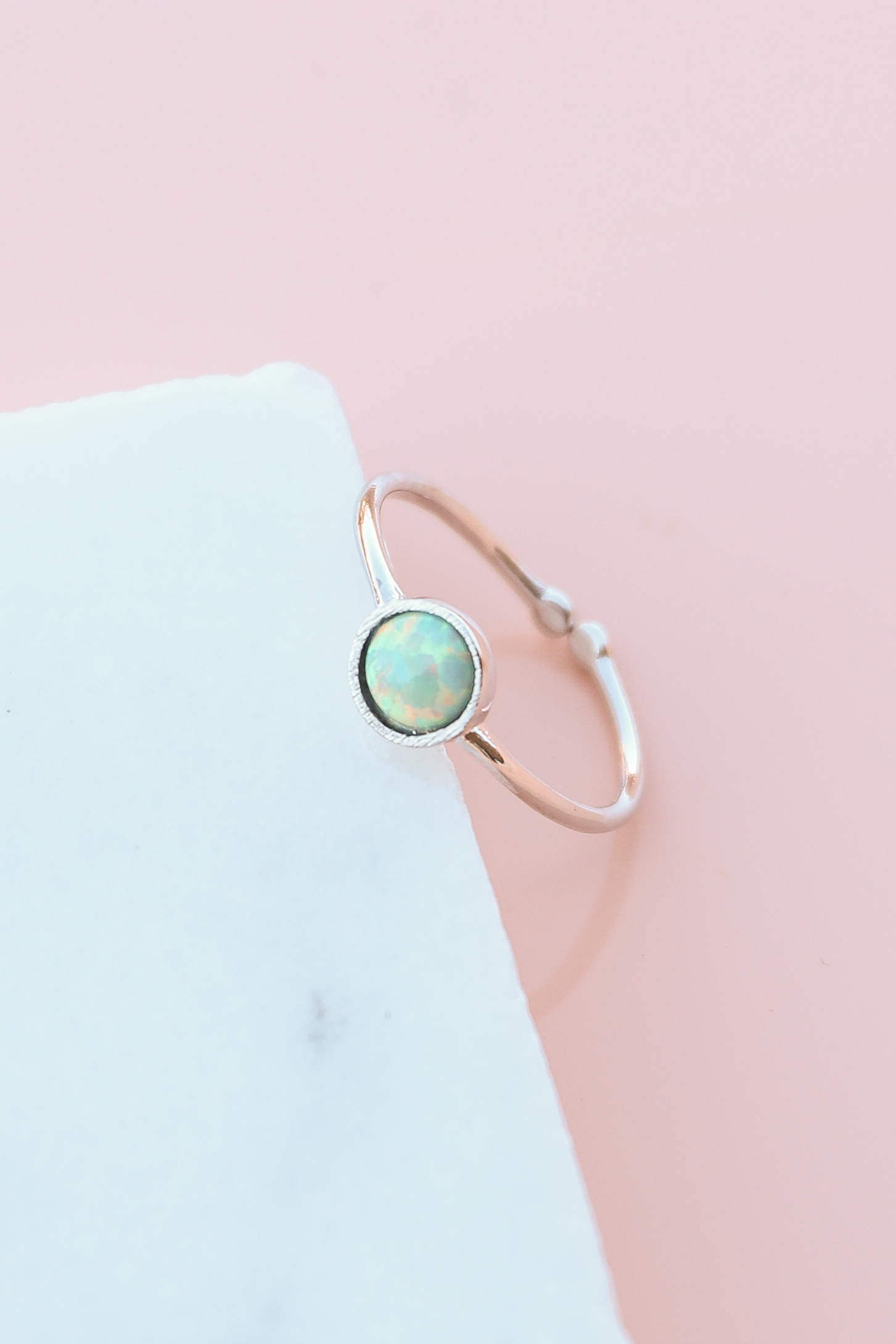 Silver Adjustable Ring with Shimmery Mint Opal Stone