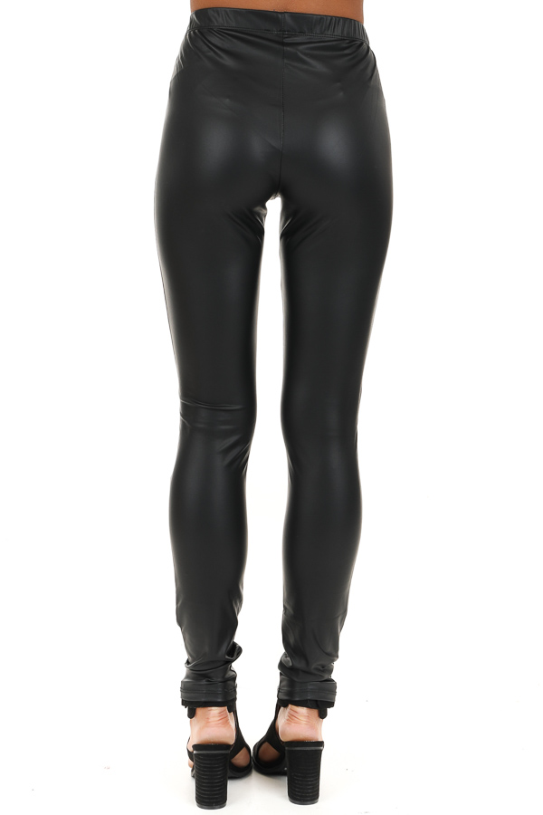 Jet Black Faux Leather Leggings with Open Knee Detail back view